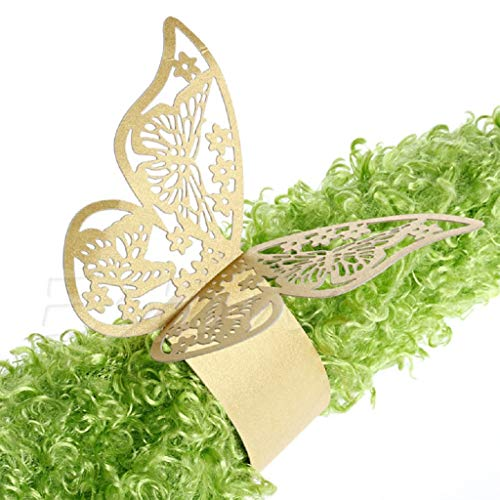 Fogun 50 x Schmetterling Papier Serviettenring für Hochzeit, Taufe, Kommunion, Graduierung, Geburtstag, Weihnachten, bankett oder Verschiedene Anlässe (Gold)