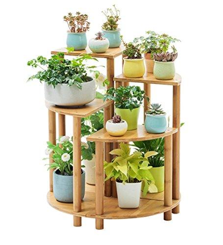 ZENGAI Pflanzen Blumentopf Rack Kombination Bambus Holz Einfach Sektor Topf-Rack Innen Balkon Ausstellungsstand