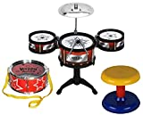 #10: HALO NATION Ultimate Jazz Drum Set musical Instrument with 5 Tom-Tom's, Base Drum and a stool for kids
