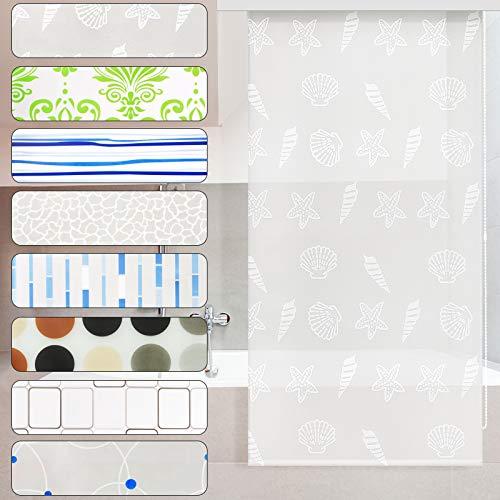 casa pura Modernes Duschrollo Ocean mit Kassette | schnelltrocknendes Rollo für Dusche und Badewanne | bis zu 240 cm Länge ausziehbar | zahlreiche Breiten wählbar (Breite 80 cm) -