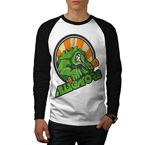 Alligator Tier Tier Krokodil Herren XXL Baseball lange Ärmel T-Shirt | Wellcoda (Ärmel Alligator Lange)