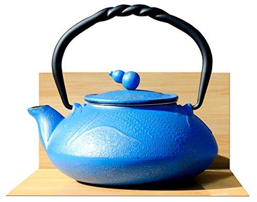 SUMMER MEADOW hierro fundido tetera hervidor de agua 0, 55L azul diseño de color dorado tetera japonesa the