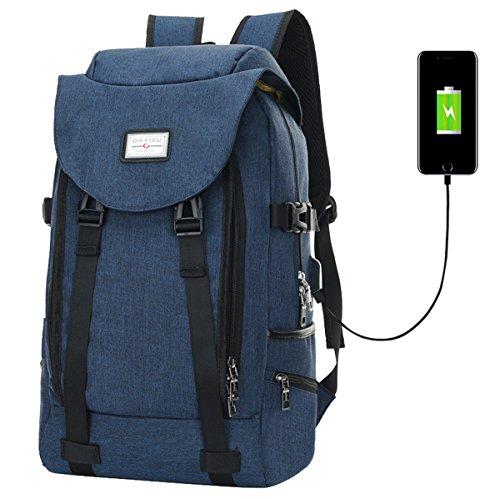 Super Modern Unisex Schule Nylon Rucksack mit USB-Ladegerät Port 38,1cm Laptop Tasche für Teen Mädchen und Jungen Cool Sports Rucksack Größe L blau (Nike Rucksack Nylon)