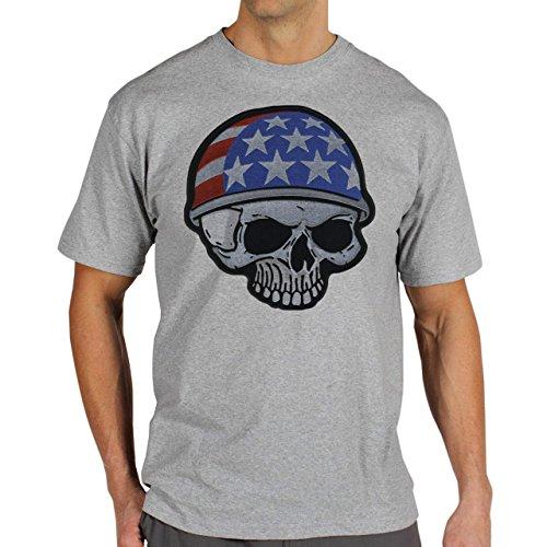 Skull American Flag Herren T-Shirt Grau