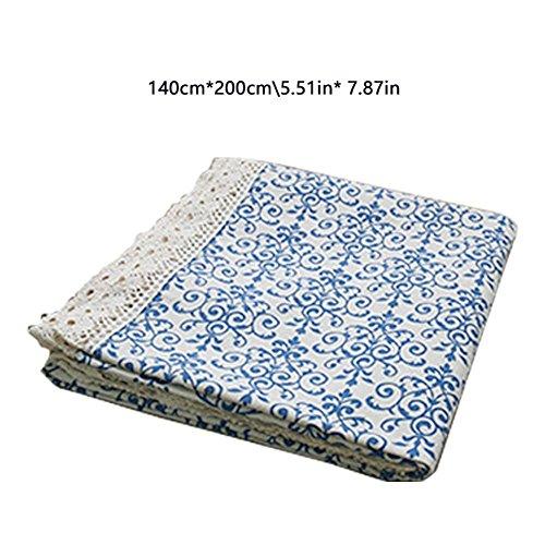 Retro Tischdecke Tischtuch Picknickdecke Eckig Abwaschbar Pflegeleicht Fleckenschutz Schmutzabweisend Tischwäsche Bierzeltgarnitur Blau und Weiß Porzellan Baumwolle 140 * 200cm