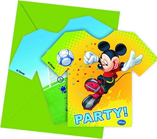 Disney Micky Maus Fußball Party Einladungen, 6Stück (Einladung Maus Micky)