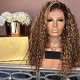 ZiQE Mezcla de color marrón y rubio Color del cabello Fibra Alta Sintética Pelo Corto sintético Afro Kinky Pelucas rizadas para mujeres negras