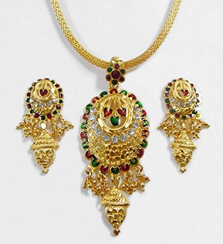 DollsofIndia Gold Plated Chain With Lacquered Pendant And Earrings - Metal (ID16-mod) - Golden
