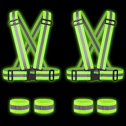 Bramble! 6 catarifrangenti ad alta visibilità - 2 gilet di sicurezza,4 bande riflettenti - multiuso| corsa notturna, passeggiate, ciclismo, motociclismo| adulti bambini