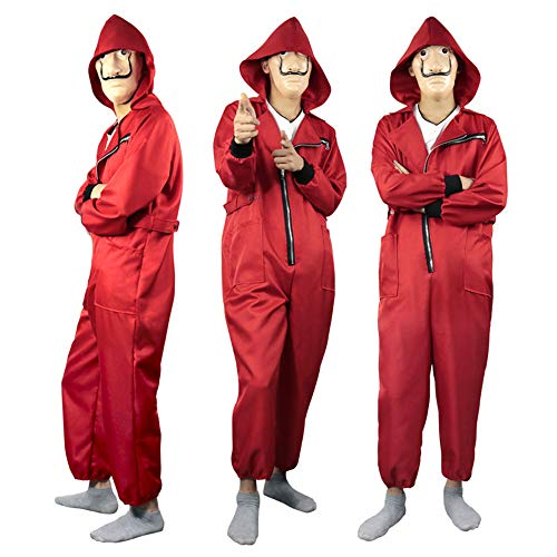 Poppins Mary Sexy Kostüm - DXYQT Anime Cosplay Kostüm Halloween Cow Kostüm Requisiten Red Jumpsuit Clown Kostüm Cosplay Maske Erwachsene Kostüm,Red-M