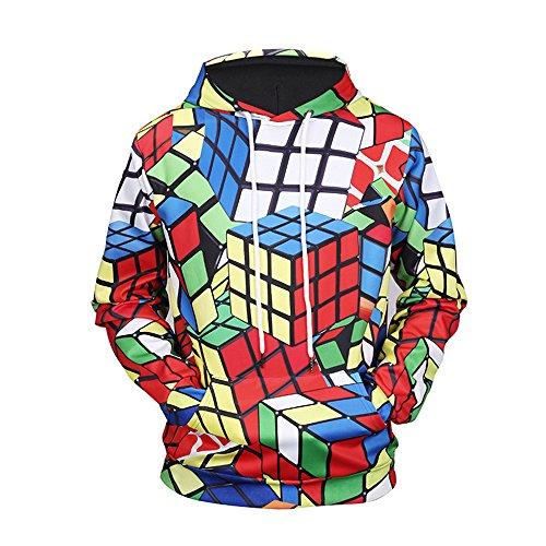 XLLQYY clothing 3D digitalen zauberwürfel Drucken Kapuzen Shirt Pulli Große Tasche Seil Männer und Frauen Pullover Sportswear Ein Paar ()