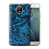 Stuff4® Hülle/Case für Motorola Moto E4 2017/Blau Muster/Flüssigmetall Effekt Kollektion