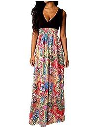 Damen Boho Maxikleid Sommer Strand Langes Kleid Cocktailparty-Blumenkleid … bd3e5e063f