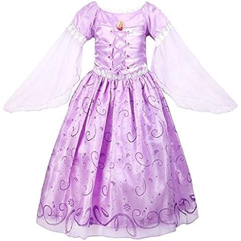 GenialES Disfraz de Vestido Princesa Púrpura Largo Lindo con Mangas Largas para Cumpleaños Fiesta Cosplay de Niñas 3-7