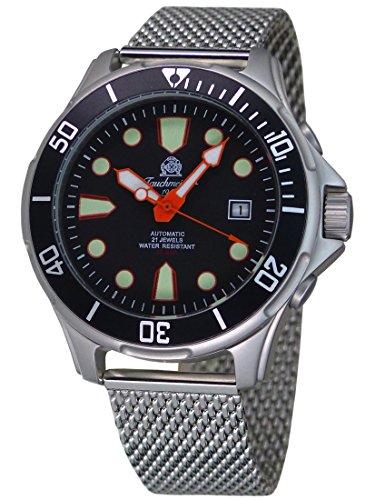 """Tauchmeister Automatik Uhr \""""MIY-8215 Werk\"""" Datum Milanaiseband T0304MIL"""