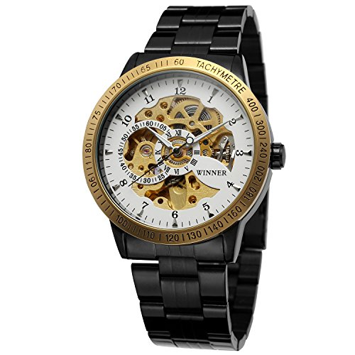 FORSINING Men's Fashion Designer Automatic Skeleton Wrist Watch With Stainless Steel Band WRG8031M4T5 (Crown Jewels Modeschmuck)