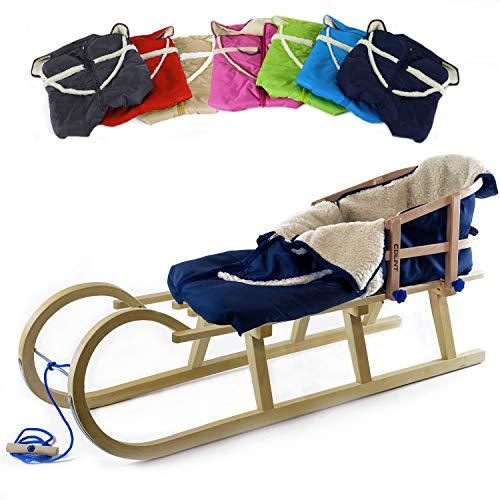 Holzfee Baby-Schlitten Hörnerschlitten 120 cm mit Lehne + Leine + Fußsack (Qualität) Farbauswahl (Granatblau)