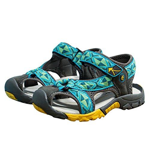 Luerme Sandales Garçon Enfant Été Chaussures Sport Sandales Bout Fermé Plage Respirant Mixtes Chaussures Randonnées C Bleu