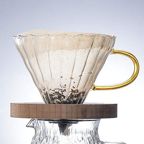 Verter sobre cafetera con filtro, vidrio filtro de café cono de cerámica, oro onda,cup