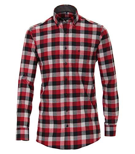 Casa Moda - Comfort Fit - Flanell Herren Hemd kariert mit Button Down-Kragen (483090600), Größe:XXL, Farbe:Rot (401) -
