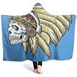 Henry Anthony 60X50 Inch Hooded Blanket Throw, American Dead Skull with Feathers Tattoo Folk Navajo Pattern Violet Blue Cream Pearl Wele Blanket C