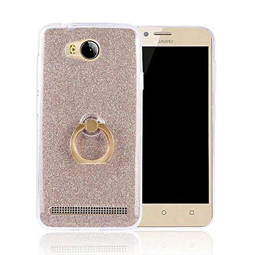 Soft Flexible TPU Back Cover Case Shockproof Schutzhülle mit Bling Glitter Sparkles und Kickstand für Huawei Y3II (Gen 2) ( Color : Black ) Gold
