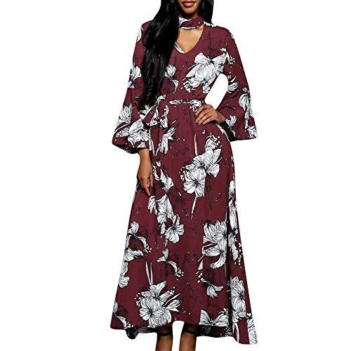 Briskorry Damen Boho Long Maxi Kleid Frauen V-Ausschnitt Langarm Blumen Casual Beach Party Kleid
