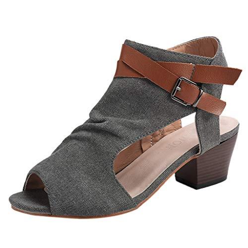 UOMOGO Estive Donna Moda Sandali Comfort Toe Sandali Scarpe Camminare Piattaforma Women Shoes Tela Sandali Romani con Tacco Alto Scarpe col Tacco