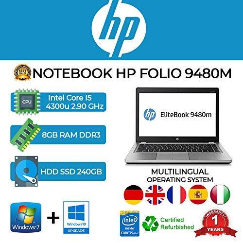 NOTEBOOK ULTRASLIM HP FOLIO 9480M INTEL CORE I5 4300U 2.90GHZ/8GB/SSD 240GB/WEB/WIN 10 PRO