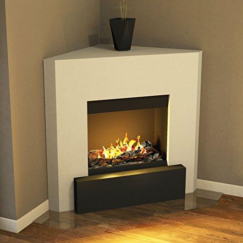 muenkel Diseño Nook [Chimenea eléctrica, Opti de Myst, años esquina]: Blanco (cálido)–con calefacción, con madera de decoración (Engine 56–600)