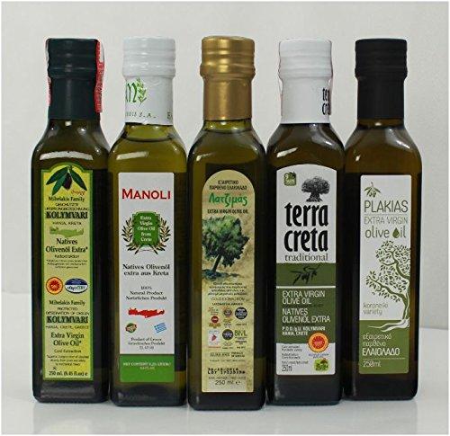 Olivenöl Probier Set aus 5 verschiedenen Olivenölen aus Kreta Griechenland Testset griechisches Oliven Öl 5 Öle