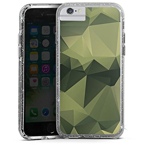 Apple iPhone X Bumper Hülle Bumper Case Glitzer Hülle Camouflage Muster Tarnfarben Bumper Case Glitzer silber