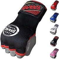 Guantes de entrenamiento Farabi sin dedos para gimnasio, fitness, boxeo, MMA, Muay Thai, con protector en los nudillos, color negro, tamaño S/M