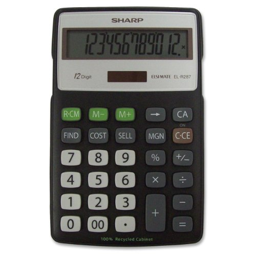 EL-R287BBK Recycled Series Calculator w/Kick-stand, 12-Digit, LCD, Black, Sold as 1 Each (Basic Calculator)