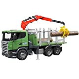 bruder 03524 Scania R-Serie Holztransport-LKW mit Ladekran, Greifer und 3 Baumstämmen