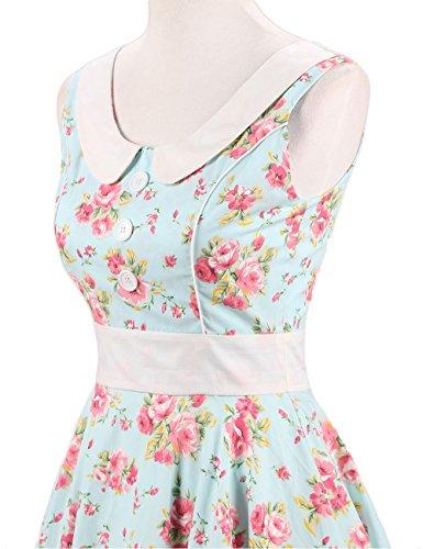 VKStar Retro Kleider Damen 50er 60er Vintage Kleider sommer ärmellos Rockabilly Abendkleid Hellgrün S - 5