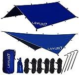 LAMURO Hängematten Tarp Regenschutz/Sonnenschutz/Zeltplane für Outdoor Abenteuer/Wanderungen/Camping,305 x 305cm