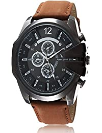 iSweven isweven Casual quartz large dial leather strap sports watch Analogue Brown Unisex Wrist Watch W1014dd