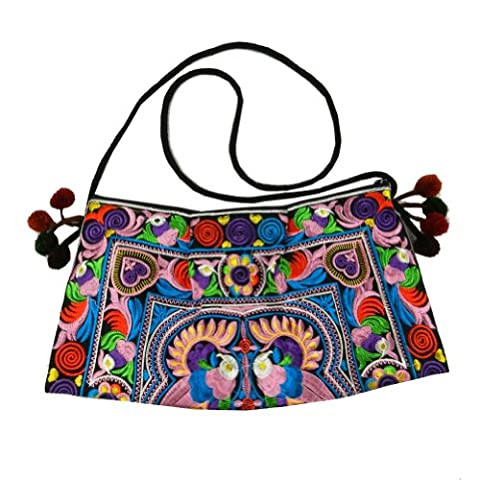 BTP! HMONG Bag Swingpack Hill Tribe Ethnic Bird Embroidered Sling Crossbody Hippie Boho Hobo Shoulder Purse Multicolor HMSP3