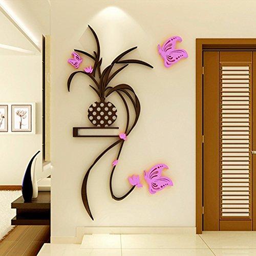 Preisvergleich Produktbild lzzfw Wandaufkleber 3D Acryl Stereo Schmetterling Blume Chlorophyta Wohnzimmer Schlafzimmer Dekoration Aufkleber rechts, 104 * 220cm