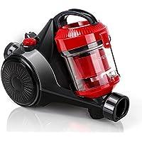Aigostar Dino 30ICP - Aspirador ciclónico sin bolsa, 700 W de potencia, 2 tipos de cepillos incluídos, filtro HEPA, silencioso 78dB. Recogida automática de cable. Color rojo. [Clase A].