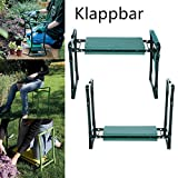 Qulista Garten Sitzbank Kniebank Gartenbank Kniekissen zusammenklappbar mit Werkzeugtasche ca. 60 x 27 x 49cm max. 250 lbs (Mit 1 Seitentasche, Grün)