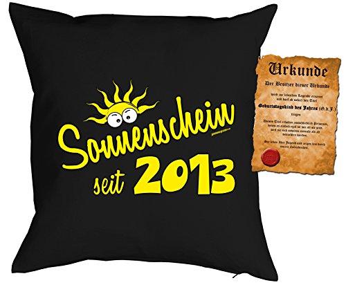 Geburtstag Deko Kissen - Sonnenschein seit 2013 Kuscheliges mit Urkunde - 2013 Neu Baumwolle
