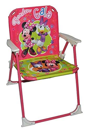 stabiler + leichter - Campingstuhl / Klappstuhl - Minnie Mouse - aus Metall mit Stoff bezogen - für circa 1 - 5 Jahre - faltbar zusammenklappbar - Stuhl für Kinder Kind - Mädchen Reise / Garten / Zimmer - Kinderklappstuhl (Reise-stuhl Klappstuhl Camping)