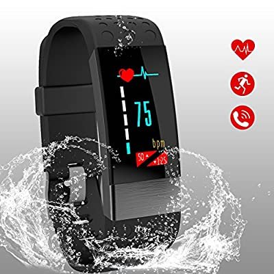 SUNWH Fitness Tracker,ctivity Tracker with Heart Rate Monitor Watch, Metal sheet sensor,Calorie Counter Watch Pedometer Sleep Monitor,IP67 Waterproof Smart Wristband, Suitable for Kids Women Men from SUNWH