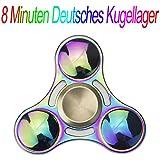 Hand Fidget Spinner Mehrfarbig Multicolor Rainbow, GIM 8 Minuten Extra DIY Deutsche Lager Haltung Spinnere Metall, Fingertip Gyro EDC Tri Spinner