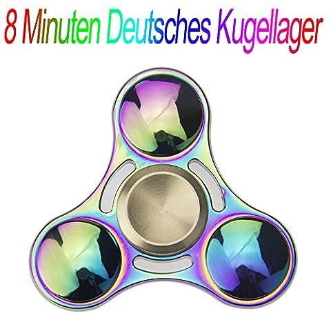 Hand Fidget Spinner Mehrfarbig Multicolor Rainbow, 8 Minuten Deutsche Lager Haltung Spinnere Metall, Fingertip Gyro EDC Tri Spinner (Runde)