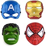 FAVELA Super Hero Cartoon Plastic Mask - Set of 4 Avengers Birthday Party Props Return Gift