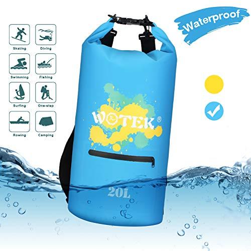 20l Schnee (WOTEK Dry Bag, 20L wasserdichte Tasche Wasserdichter Packsack mit Reißverschluss,2 Lange verstellbaren Schultergurten für Strand, Segeln, Skifahren, Schwimmen, Camping, Bergsteigen,Geschenk -Blau)