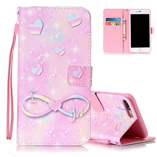 iPhone 7 plus Flip Ledertasche, Muster Book Case Cover für iPhone 7 PLUS, Aeeque® Slim [Standfunktion Kartenfach] Malerei Pink Lotus Bilder Leder Handy Tasche Klappetui Lederhülle Brieftasche Pink Herz